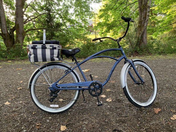 Bicycle with a picnic basket parked next to beautiful trees